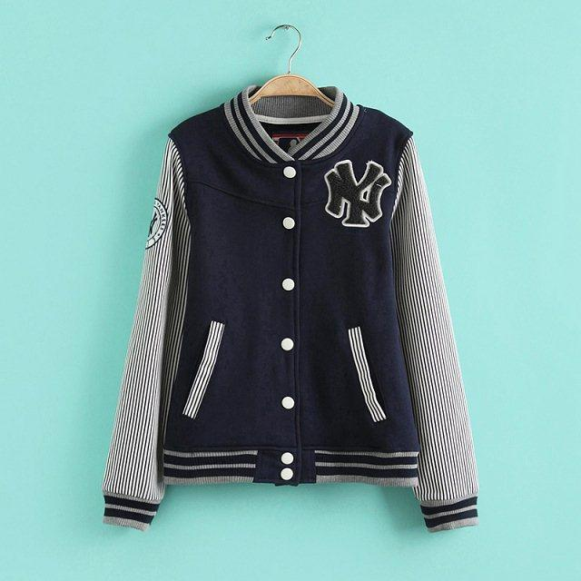 Fashion Women baseball Jacket Striped print Letter Embroidery ...