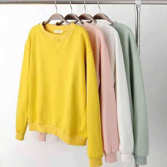 Fashion women Basic School sport cotton pullovers O-...