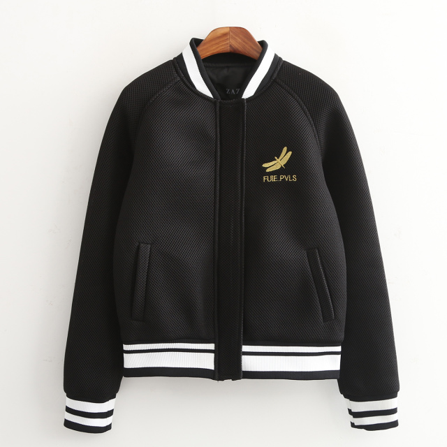 Fashion Women Black baseball Jacket Mesh Embroidery ...