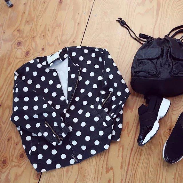 Fashion women Black Denim Polka Dot Print jakcet zipper ...