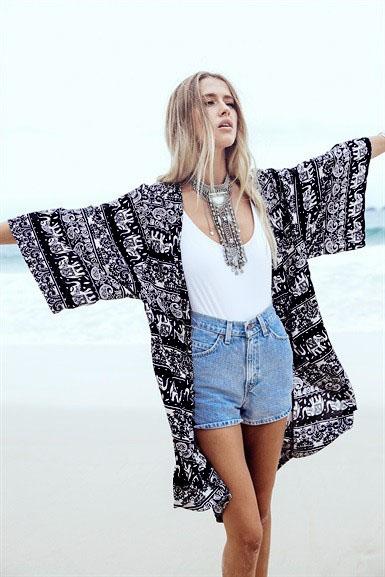 Fashion Women black Geometric elephant print Long Kimono ...