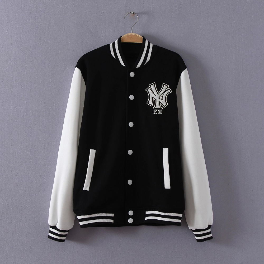 Fashion women black New York Embroidery cotton coat ...
