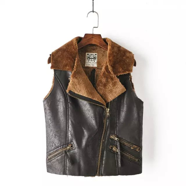 Fashion Women black Punk Vest winter Warm faux suede ...
