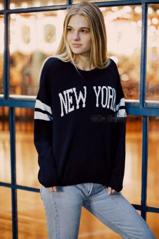 Fashion women black striped New York pattern pullover ...
