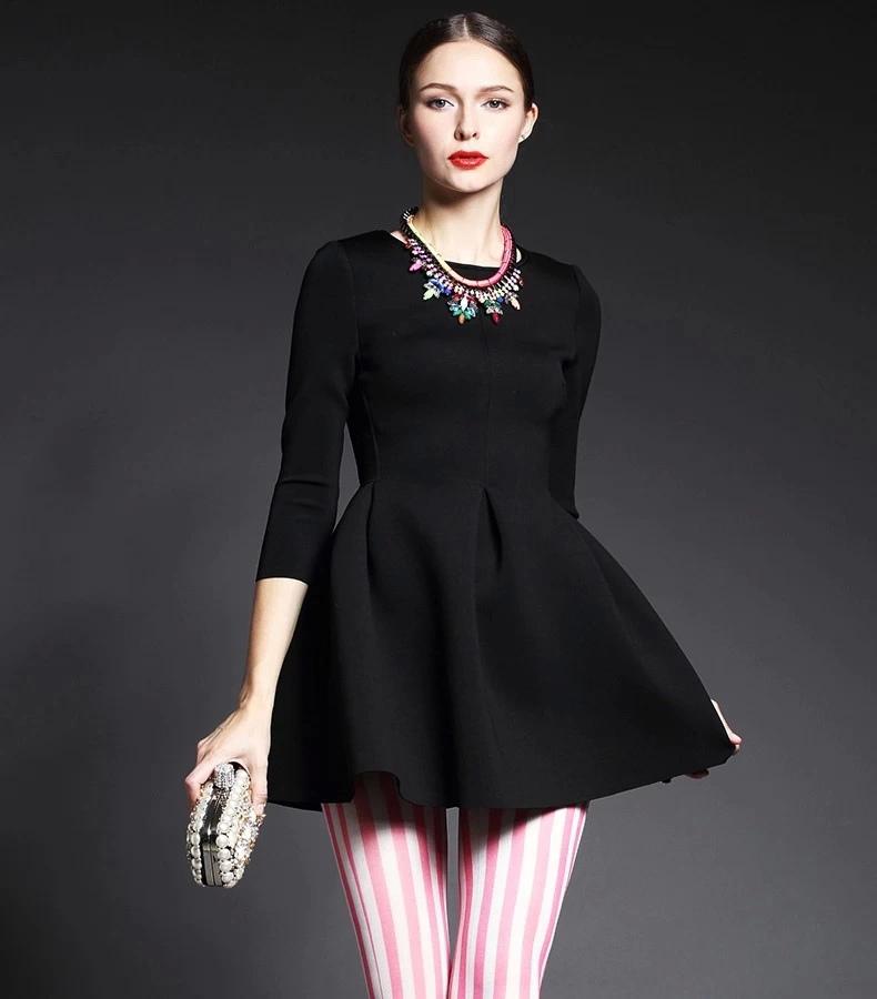 Fashion women black Three Quarter Sleeve O-Neck back zipper stretch pleated dress Office Lady casual vestidos femininos