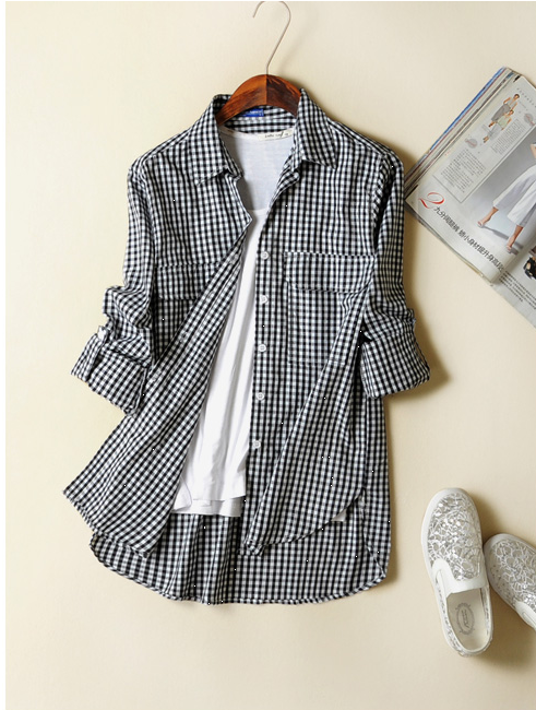 Fashion women black white plaid Print blouses Turn-down ...