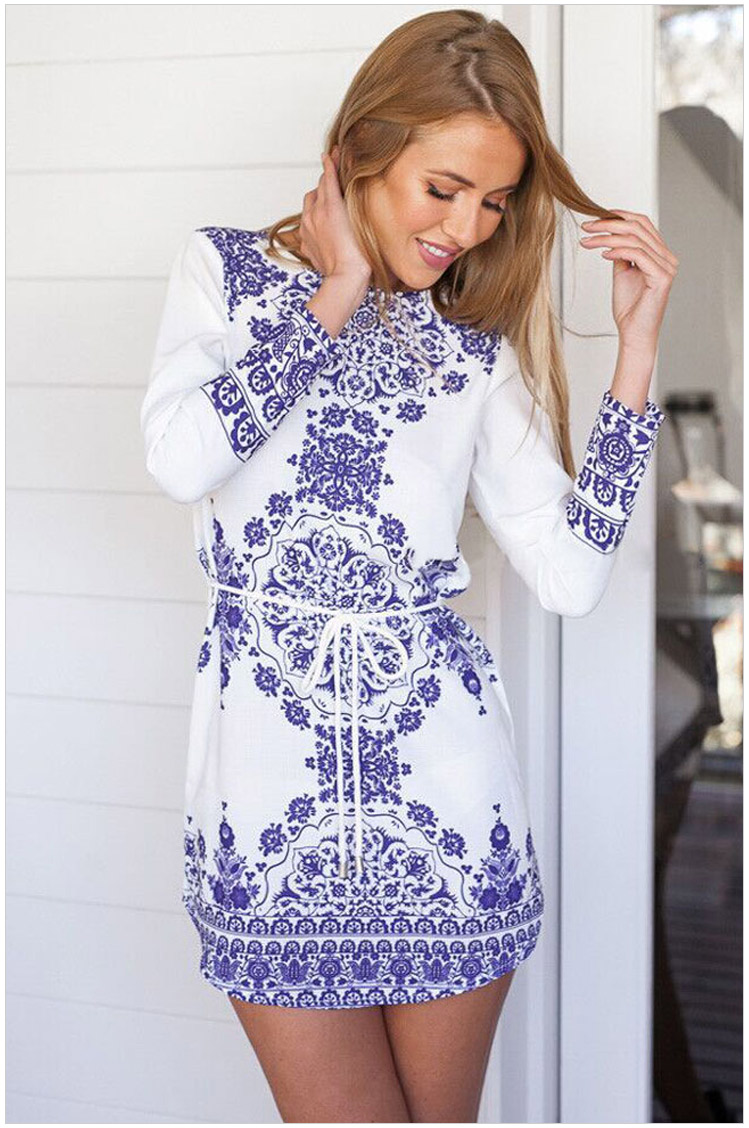 Fashion Women blue and white porcelain Print With Belt ...