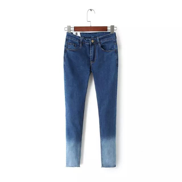 Fashion Women blue denim Gradient color pockets Zipper ...