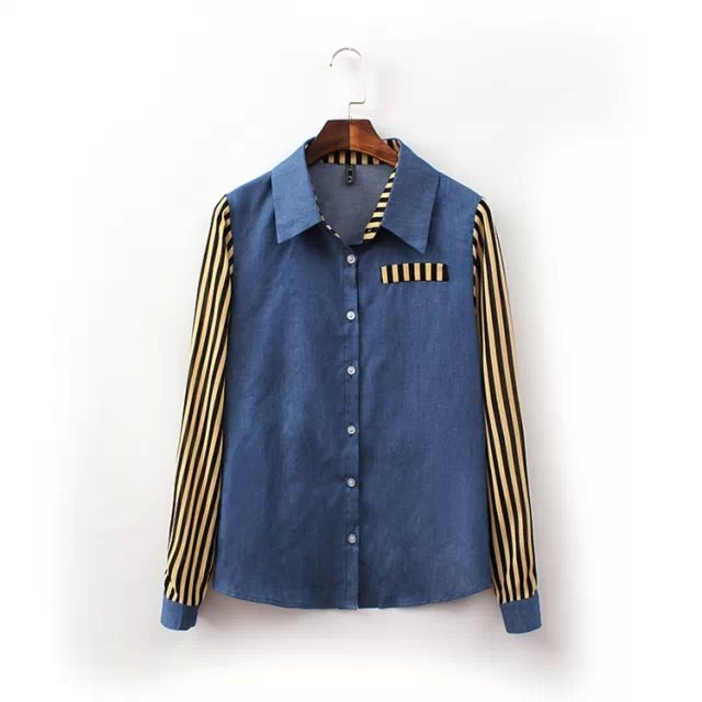 Fashion Women blue Denim Patchwork striped print blouses ...