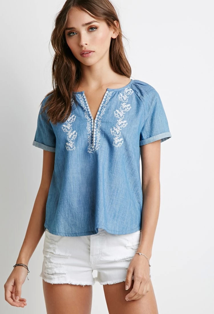 Fashion Women blue Denim Ruffle blouse short Sleeve ...