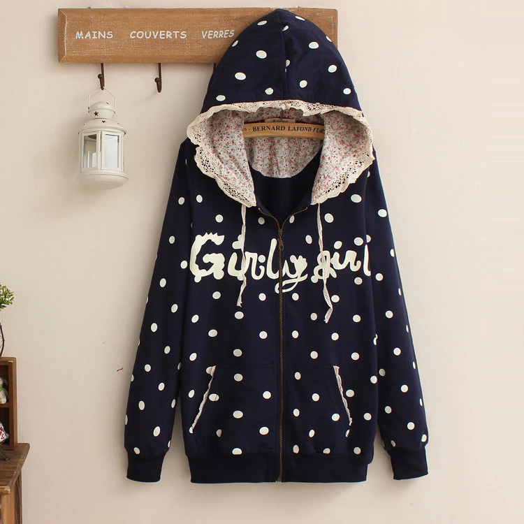 Fashion women blue dots Letter print lace patchwork ...