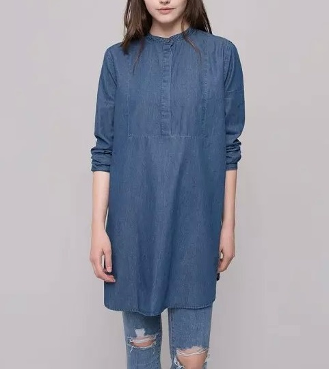 Fashion Women blue Long Shirt Dress Long Sleeve O-neck ...