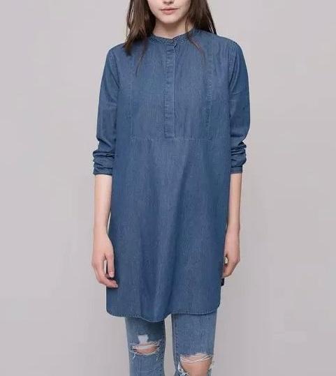 Fashion Women blue Long Shirt Dress Long Sleeve O-neck ...