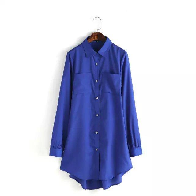 Fashion Women Blue Long Shirt Dresses Backless Vintage ...