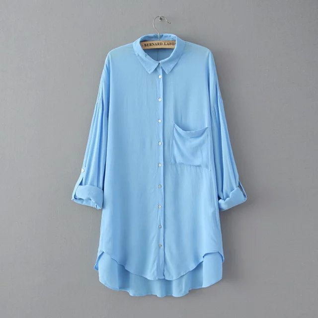 Fashion Women Blue Pocket Buttons long Blouses Turn ...