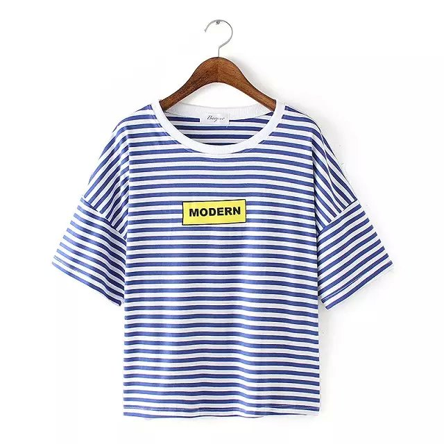 Fashion Women blue Striped Letter print T-shirt O-neck ...