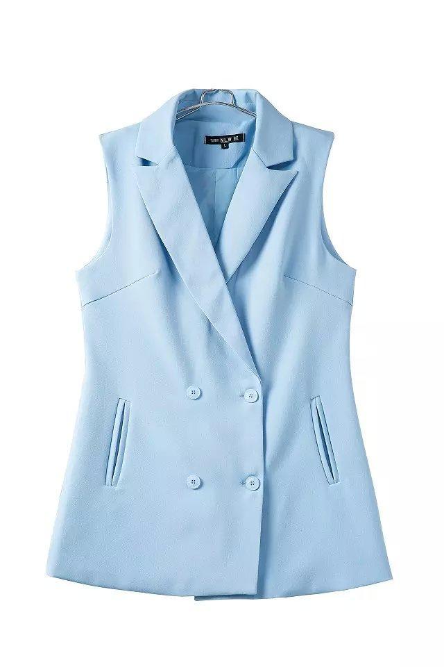 Fashion Women Blue vests jacket elegant office lady ...