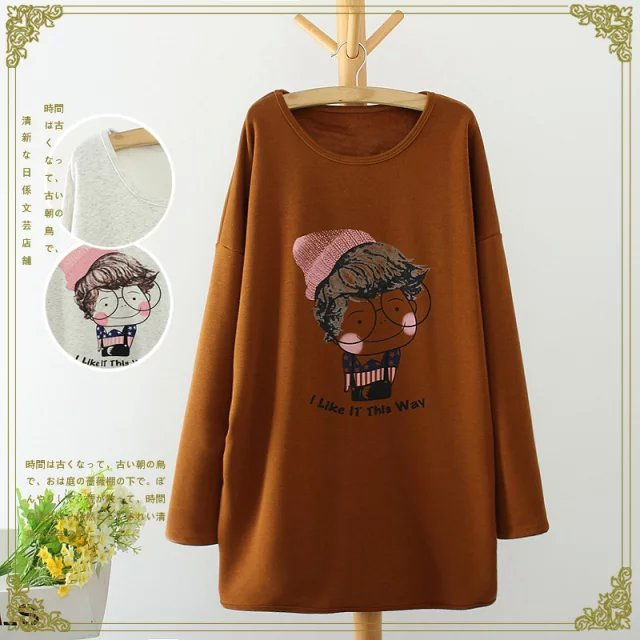 Fashion women Brown Cartoon print long pullover sweatshirts ...