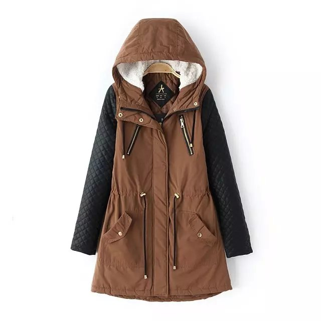 Fashion Women Brown Cotton Hooded Zipper Pocket drawstring ...