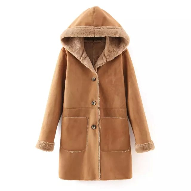 Fashion Women brown Faux Suede Leather fur hooded Jacket ...