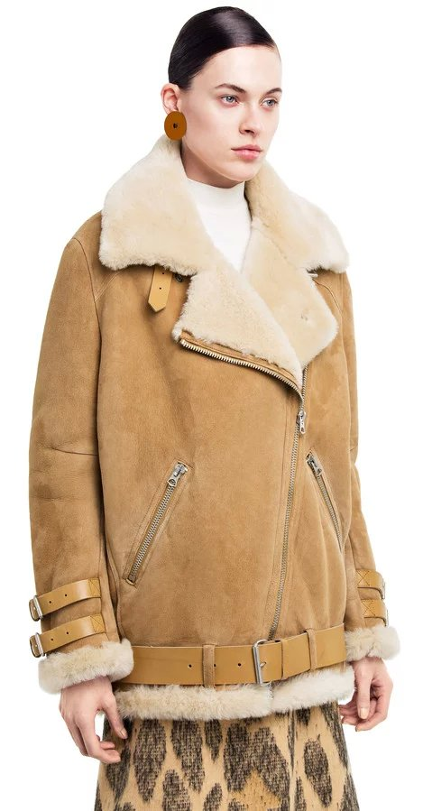 Fashion Women brown Faux Suede Leather fur Turn-down ...