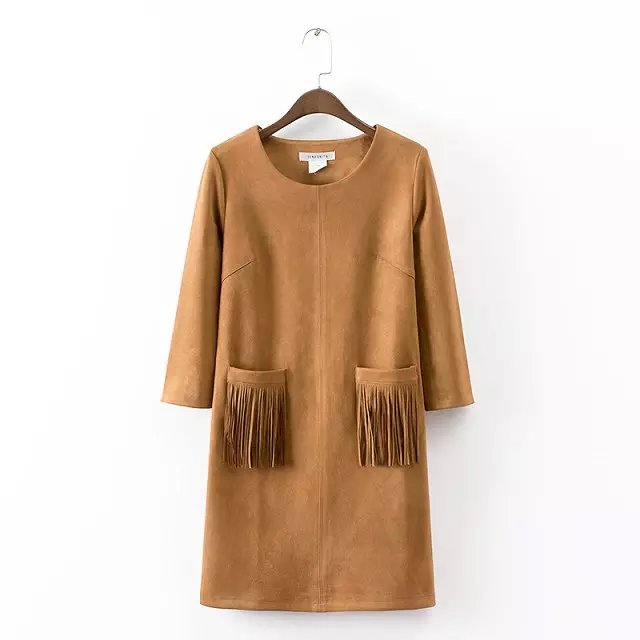 Fashion women brown faux suede leather O-neck tassel ...