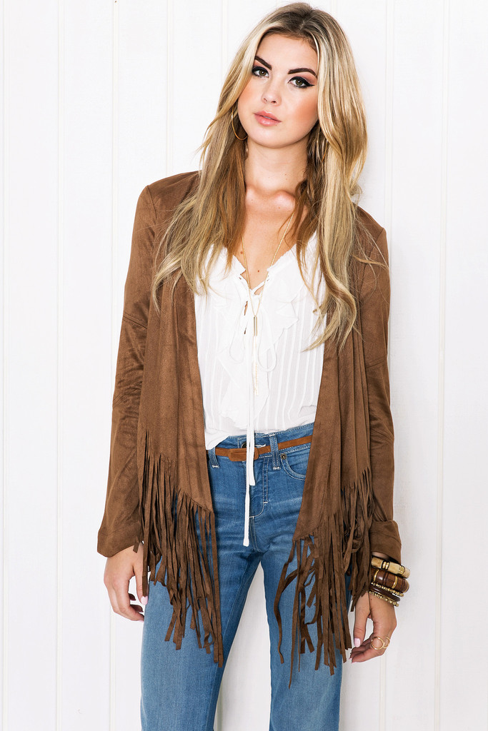 Fashion women Brown Faux Suede Leather Tassel Jacket ...