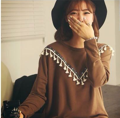 Fashion Women brown Geometric Embroidery tassel pullover ...