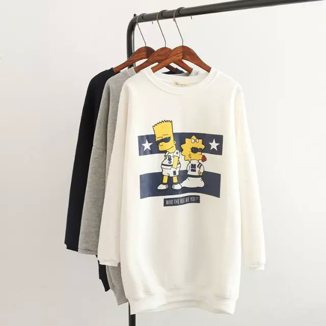 Fashion women Cartoon print long pullover sweatshirts ...