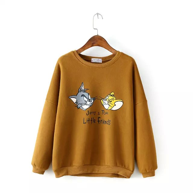 Fashion Women cat Print hoodies brown Sport Pullover ...