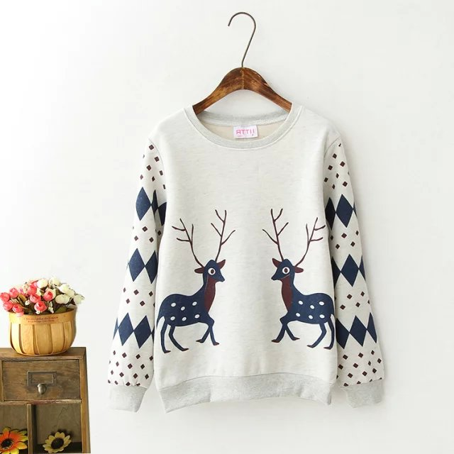 Fashion women Christmas thick gray deer Geometric print ...