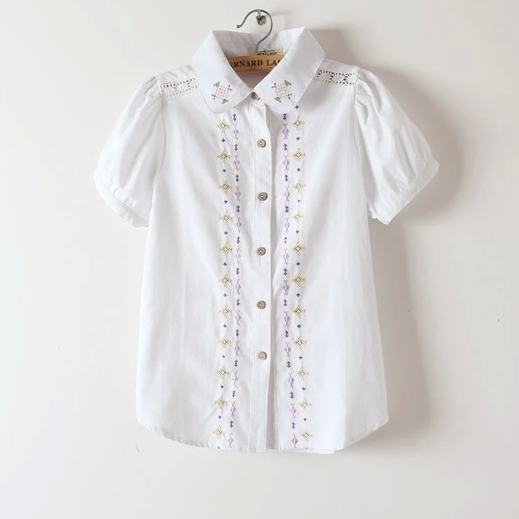 Fashion Women Cotton Elegant white Geometric Embroidery ...