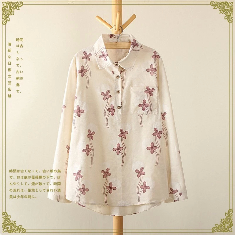 Fashion women Cotton Linen Floral print white Turn-down ...