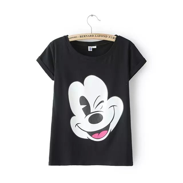 Fashion Women Cute black Cartoon Print T-shirt O-Neck ...