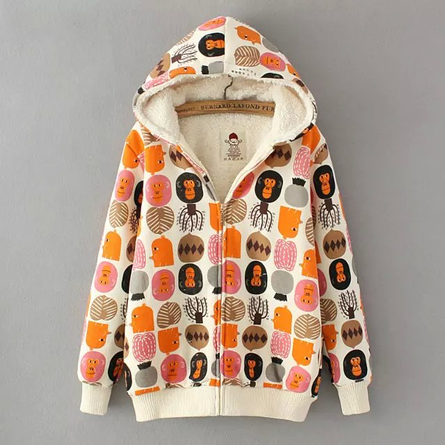 Fashion Women cute Cartoon print cotton Parkas hooded ...