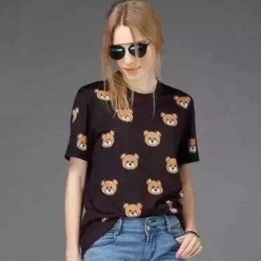 Fashion Women cute cotton bear Print black T-shirt O-...