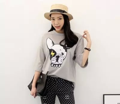 Fashion women cute gray cotton dog print O-Neck T-shirts ...