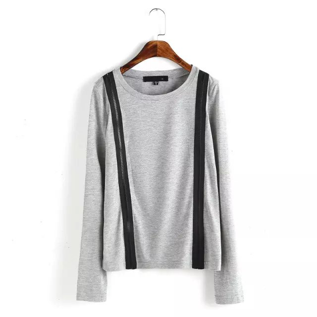 Fashion Women Double Zipper long T-shirt O neck long ...