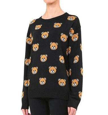 Fashion women elegant bear Print black pullover sweatshirts ...