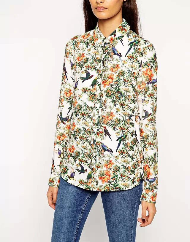 Fashion women elegant bird Floral print blouses turn-...