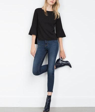 Fashion Women elegant black blouses O-neck Flare Sleeve ...