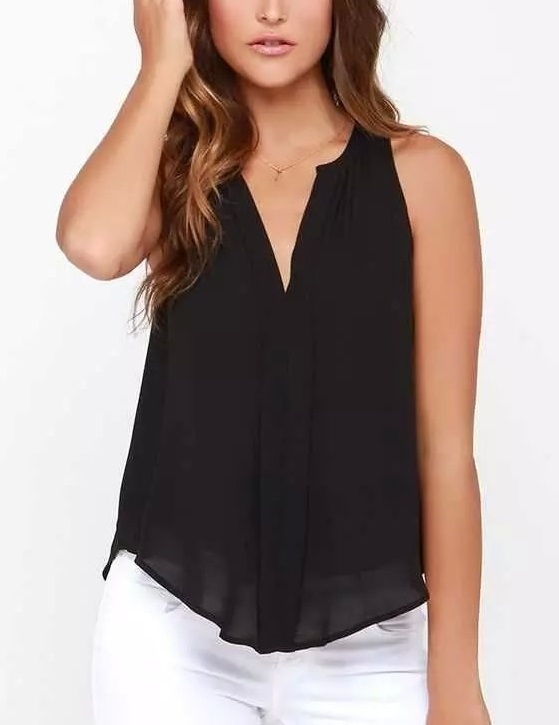 Fashion women elegant black blouses shirt vintage sleeveless ...
