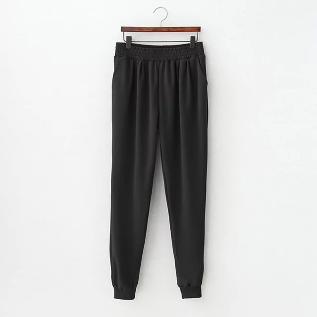 Fashion Women Elegant Black Elastic waist Casual trousers ...