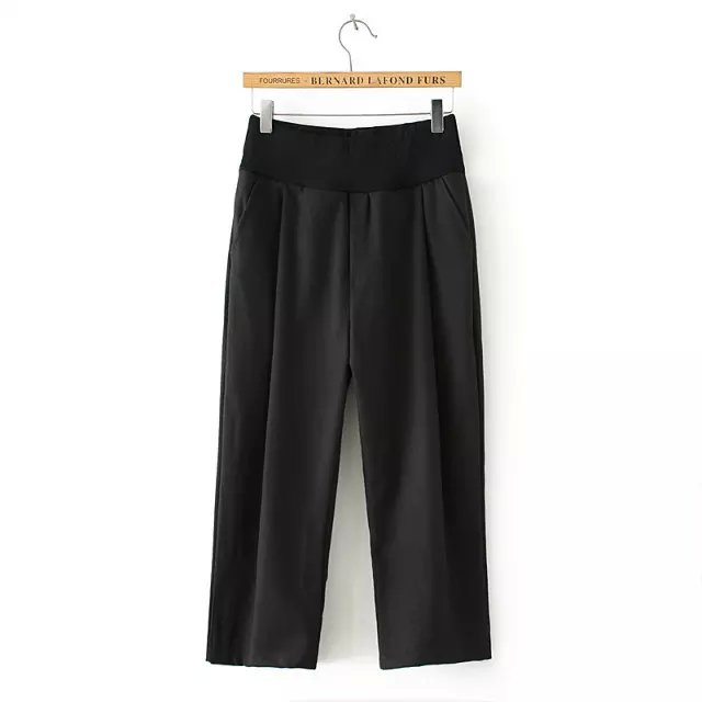 Fashion women Elegant Black Elastic Waist straight Capris ...
