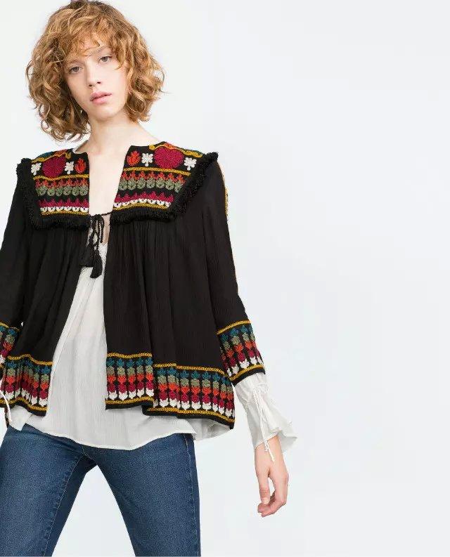 Fashion women elegant Black Geometric Embroidery Tassel ...