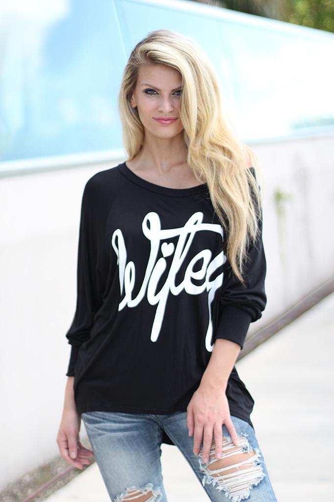 Fashion Women Elegant black Letter print T-shirt off ...