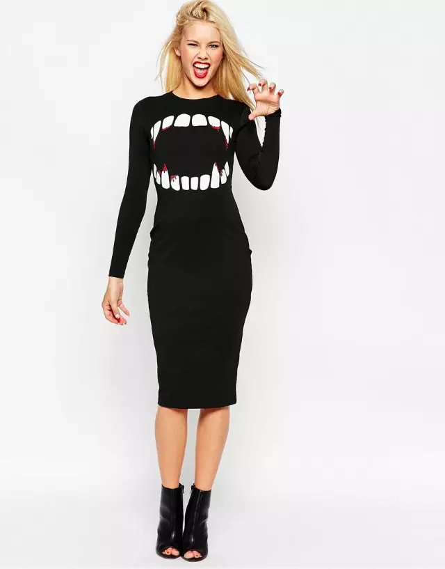 Fashion Women Elegant Black Vampire teeth print stretch ...