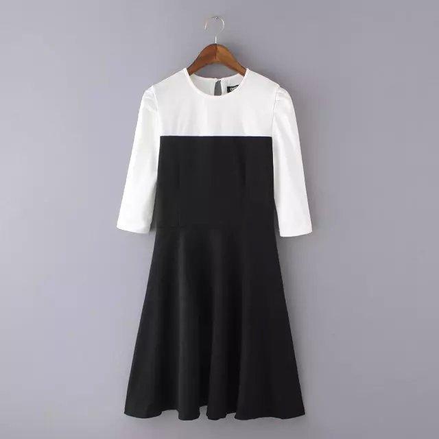 Fashion Women elegant Blocking Color dresses knee length ...