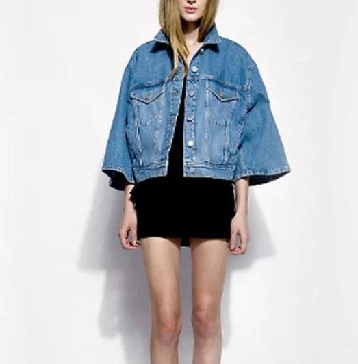 Fashion women elegant blue denim Jacket Flare Sleeve ...