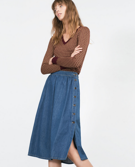 Fashion women elegant Blue Denim Pleated Mid-Calf Skirts ...